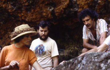 Sigrid Southworth, Patrick Kirch (center), and an unidentified man in Anahulu Valley on O'ahu.