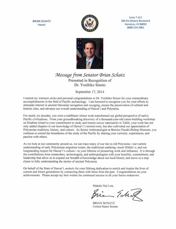 Senator Schatz's Congratulatory Message for Dr. Yosihiko Sinoto
