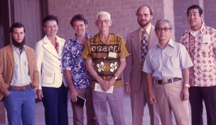 At the 1978 meeting of the Society for American Archaeology in Tucson, Arizona, was a symposium on Hawaiian archaeology. Participating were (left to right) Patrick Kirch, Pat Beggerly, Hal Hammatt, Kenneth Emory, Rob Hommon, Yosi Sinoto, and Bill Kikuchi.